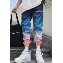 Men's Street Stylish Trendy Letter Printed Ombre Color Elastic Cuffs Hip Pop Loose Track Pants