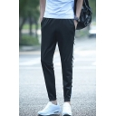 Men's Trendy Stripe Emoji Printed Elastic Cuffs Black Casual Track Pants