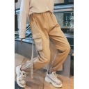 Men's Simple Fashion Letter Embroidery Flap Pocket Side Ribbon Embellished Elastic Cuffs Casual Cargo Pants