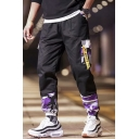 Cool Fashion Camouflage Pattern Ribbon Embellished Flap Pocket Elastic Cuffs Men's Casual Loose Cargo Pants