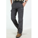 Men's Simple Fashion Solid Color Multi-pocket Outdoor Casual Cargo Pants