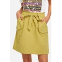 Popular Yellow Paperbag Tied Waist Mini A-Line Skirt for Women