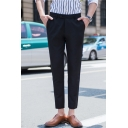Guys Fashion Simple Plain Straight Tailored Suit Pants Dress Pants