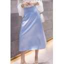 Womens Stylish Simple Plain Soft Silk Maxi Swing Skirt