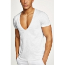 Guys Hot Popular Sexy Plunging V-Neck Short Sleeve Cotton Fitness T-Shirt