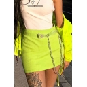 Girls New Stylish Basic Solid Chain Embellished Knitted Mini Bodycon Skirt