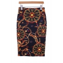 Womens Fancy Fashion Style Chain Wheel Print Split Back Midi Pencil Skirt