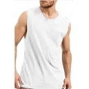 Mens Fashion Solid Color Round Neck Sleeveless Training Fitness Tank Top