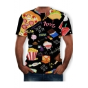 Summer Funny Cartoon Food Letter Graffiti 3D Printed Round Neck Short Sleeve Black Tee