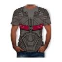Fashion Grey Comic Cosplay Costume 3D Armour Print Short Sleeve Tee