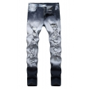 Men's Denim Washed Stretched Slim Fit Grey Frayed Ripped Jeans