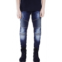 Men's Personalized Fashion Pleated Design Dark Blue Biker Jeans