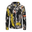 Mens Hot Popular Fashion Camo Printed Long Sleeve Hooded Zip Up Outdoor Military Fitted Jacket