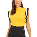 Womens Hot Fashion Black and White Ruffled Hem Sleeveless Fitted T-Shirt Top