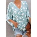 Trendy Allover Floral Printed V-Neck Three-Quarter Sleeve Button Down Chiffon Blouse