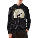 Stylish Black Starry Moon Wolf Print Loose Fit Pullover Hoodie
