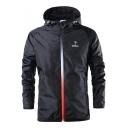 Mens Fashion Simple Logo Print Hooded Zip Up Windbreaker Training Sport Track Jacket