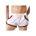 Men's Summer Fashion Contrast Hem Drawstring Waist Breathable Casual Arrow Shorts Running Shorts