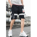 Street Style Trendy Letter Pattern Buckle Strap Flap Pocket Drawstring Waist Casual Cotton Cargo Shorts