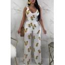 Summer Hot Fashion Pineapple Print Scoop Neck Sleeveless Backless Wide-Leg Jumpsuit for Women