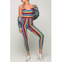 Women's New Rainbow Striped Printed Scoop Neck Sleeveless Skinny Jumpsuits