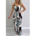 Summer Fashion Floral Pattern V-Neck Sexy Straps Tie Waist Jumpsuits for Women