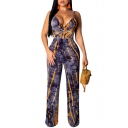 Summer Fashion Purple Tie-Dye Print V-Neck Hollow Out Straps Backless Slim Fit Jumpsuits