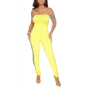 Hot Stylish Womens Strapless Check Sleeve Side Print Skinny Jumpsuits
