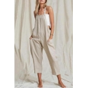 Summer Girls New Stylish Plain Cotton and Linen Pocket Side Casual Loose Overall Jumpsuits