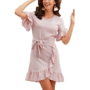 Womens Summer Fashion Plain Pink Round Neck Ruffled Hem Tied Waist Mini A-Line Asymmetric Dress