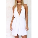 Womens Fancy Sexy Halter Plung V-Neck Sleeveless Open Back White Mini A-Line Dress
