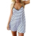 Black and White Striped Print V-Neck Sleeveless Mini Cami Dress