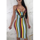 Trendy Colorful Striped Printed Lace-Up Gathered Waist Midi Bodycon Cami Dress