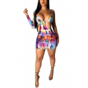 Fancy Purple Tie Dye Sexy Irregular Cutout Long Sleeve Mini Bodycon Dress