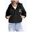 Womens Simple Letter Print Long Sleeve Sport Loose Black Zip Up Hoodie Coat