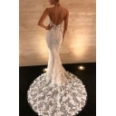 Trendy White Elegant Plunge V Neck Backless Sleeveless Floor Length Lace Bodycon Cocktail Evening Gown Dress