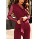 New Arrival Plunge V-Neck Lapel Collar Sheer Mesh Patchwork Self-Tie Slim Fitted Jumpsuits