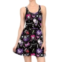 Halloween Style Hot Sale Cartoon Print Sleeveless Scoop Neck Tank Dress