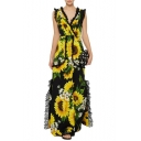 Popular Trendy lace Patch V Neck Sleeveless Sunflower Printed Maxi Yellow Swing Dress