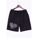 Men's Summer New Fashion Cloud Printed Drawstring Waist Casual Cotton Relaxed Sweat Shorts