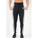 Men's New Fashion Contrast Stripe Side Letter C Printed Drawstring Waist Sports Fitness Pants