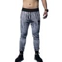 Men's Fashion Unique Stripe Printed Drawstring Waist Slim Fit Sweatpants Sports Pencil Pants