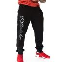 Men's Popular Fashion Letter Printed Elastic Waist Black Sports Fighting Pants