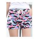 Womens Fashion Camo Printed Drawcord Waist Loose Fit Pull-On Shorts with Pocket
