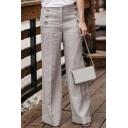 Womens Hot Stylish Plain Button Zip-Front Cotton Leisure Straight Wide Leg Pants