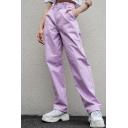 Cool Street Stylish Purple High Waist Multi Pocket Straps Holiday Cargo Pants