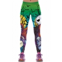 New Fashion Halloween Cartoon Jack and Sally Skull Figure Print Elastic Waist Slim Fitted Pants for Women