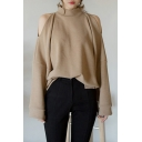 Womens Trendy Mock Neck Simple Solid Color Cold Shoulder Long Sleeve Loose Fit Sweatshirt