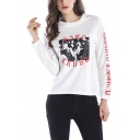Womens Unique Stylish Letter Printed Round Neck Long Sleeve Pullover Sweatshirt