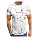 Mens Cool Unique Splash-Ink Dot Print Round Neck Short Sleeve Casual Tee